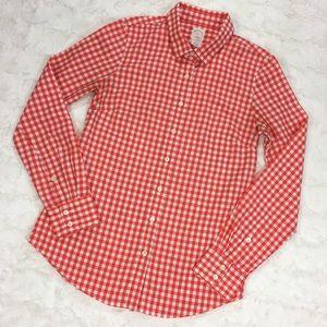 J. Crew Perfect Shirt in Orange Gingham